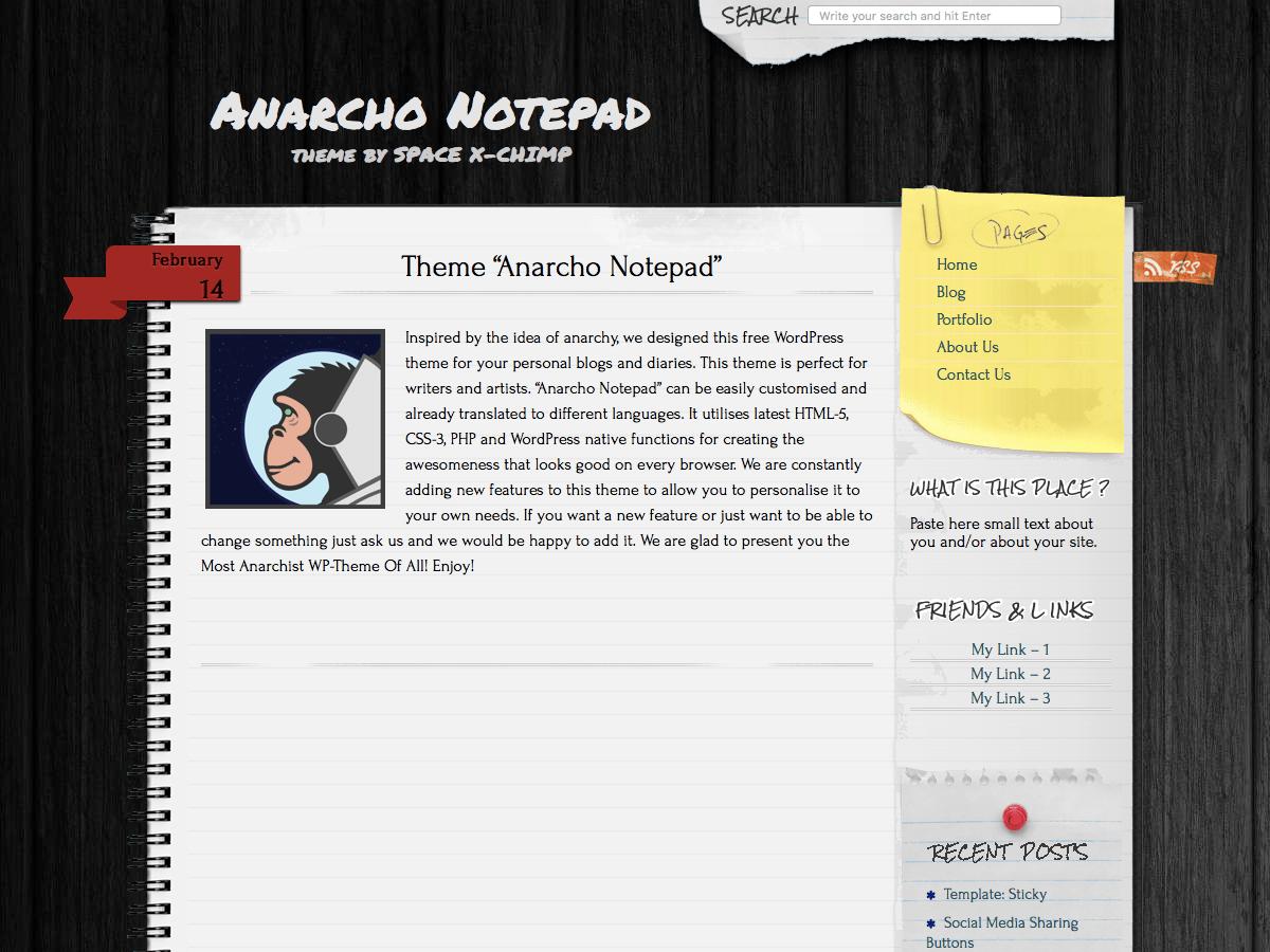 Anarcho Notepad - тема в стилі блокнота
