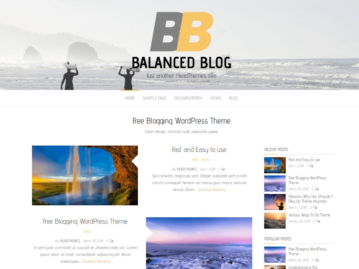 Balanced Blog - блогових шаблон ВП