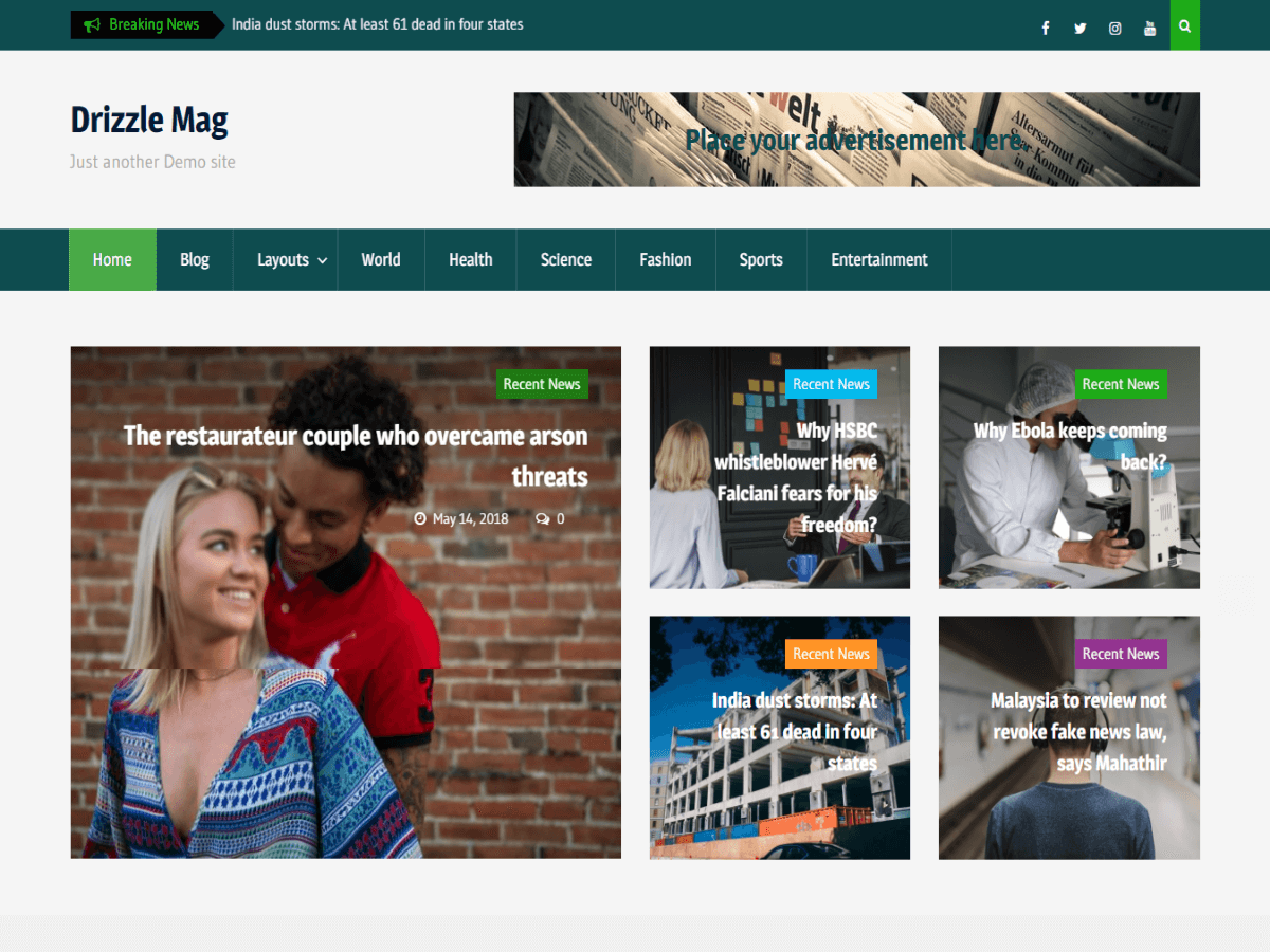 Drizzle Mag - журнальна тема WordPress