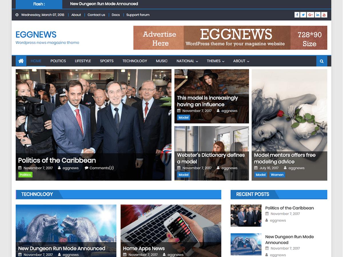 Eggnews - новинний шаблон для сайту