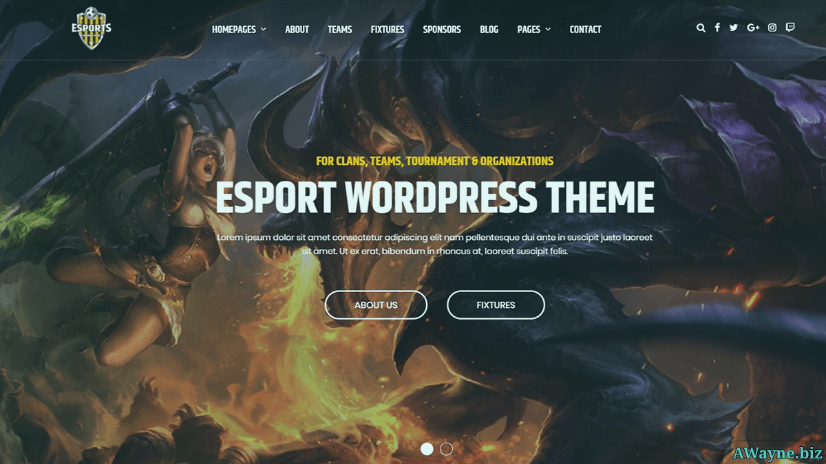 eSport - шаблон для сайтів про кібер-спорт