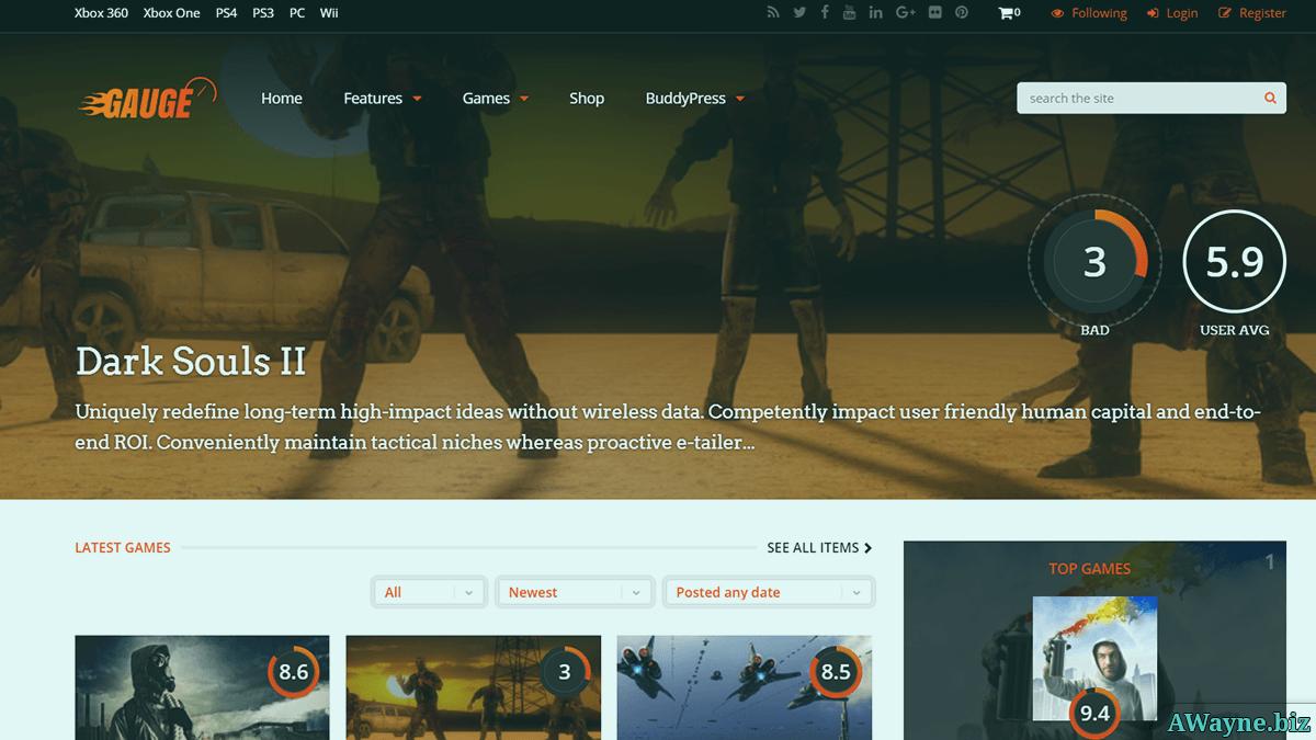 Gauge - ігрова тема для WordPress