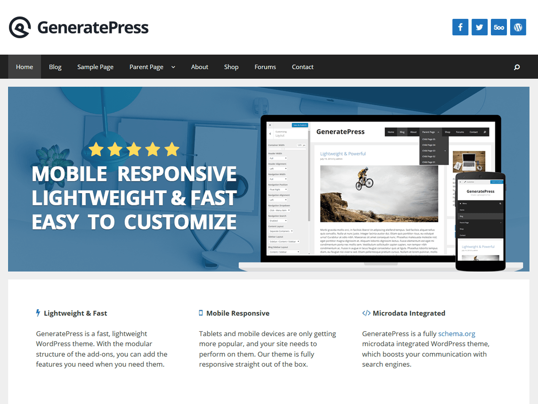 GeneratePress - безкоштовна SEO-тема для ВП
