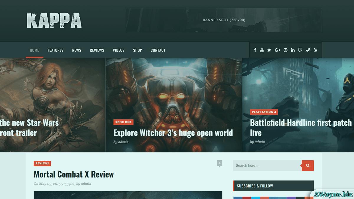Kappa - крута блоговая тема для ігрових сайтів