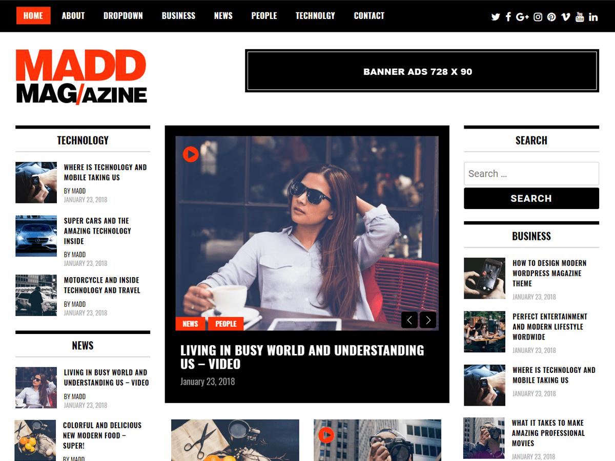 Madd Magazine - шаблон в стилі magazine