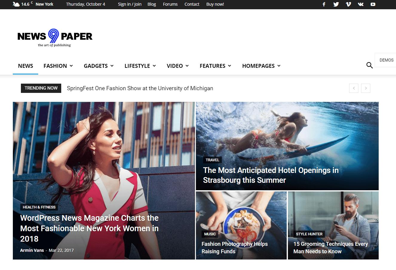 Newspaper - зручна тема для блогу на WordPress