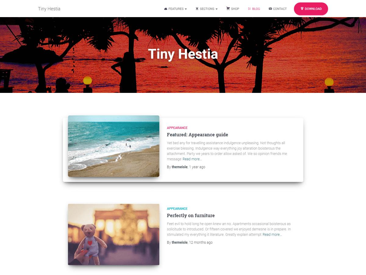 Tiny Hestia - дочірня тема для вп