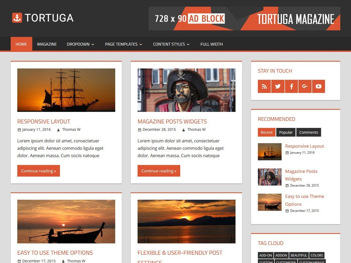 Tortuga - журнальна тема для особистого блогу
