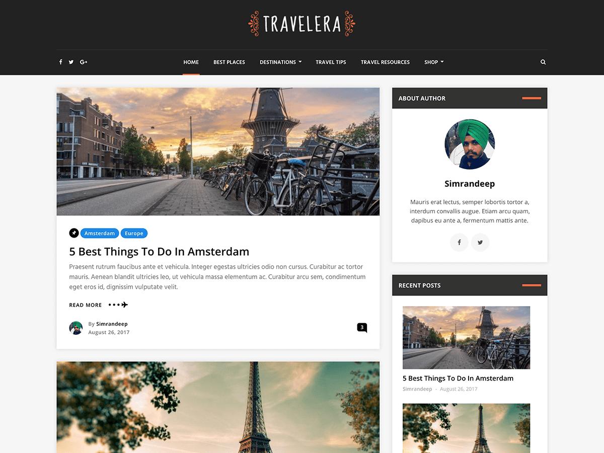 Travelera Lite - шаблон для блогу про подорожі