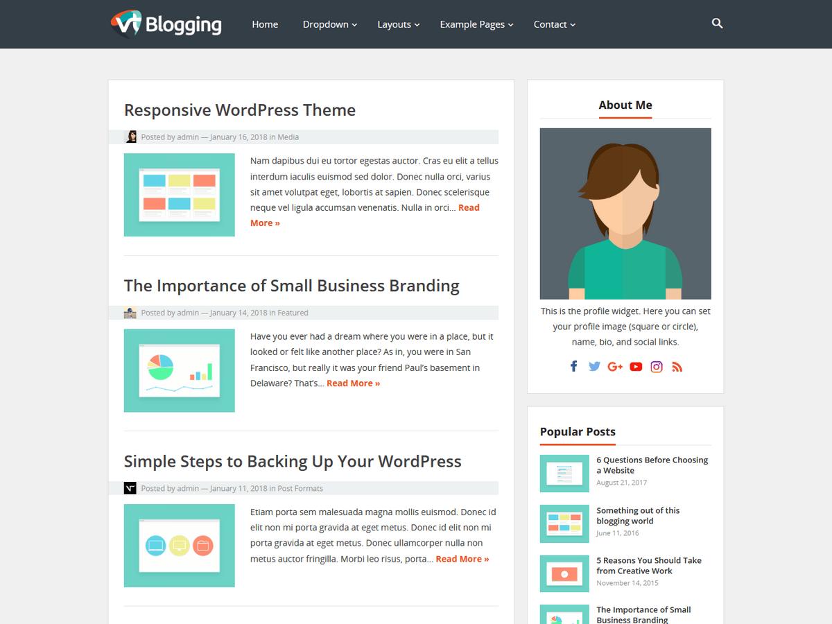 VT Blogging - шаблон особистого блога вп