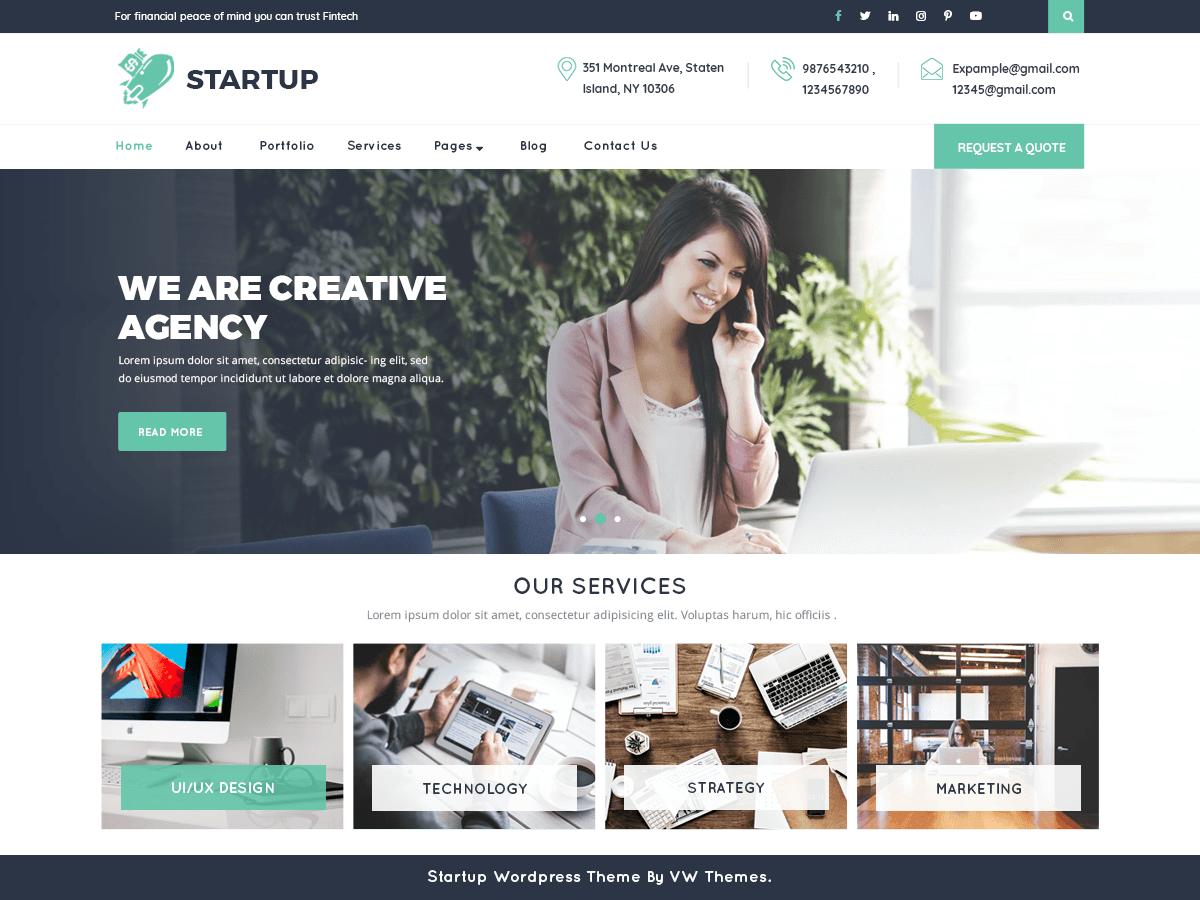 VW Startup - бізнес-тема вордпресс